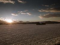 Sonnenuntergang im winterlichen Loisachmoor